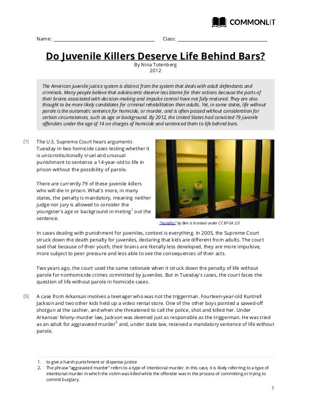 Commonlit do juvenile-killers-deserve-life-behind-bars-student
