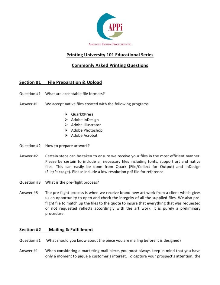 Printing University 101 Educational Series                             Commonly Asked Printing QuestionsSection #1     Fil...