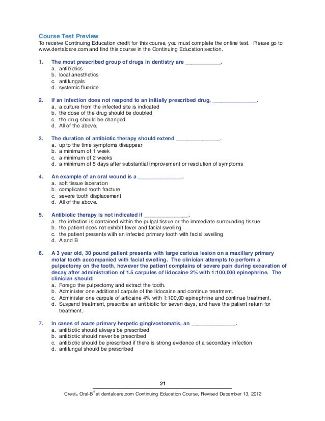 21 Crest® Oral-B ® at dentalcare.com Continuing Education Course, Revised December 13, 2012 Course Test Preview To receive...