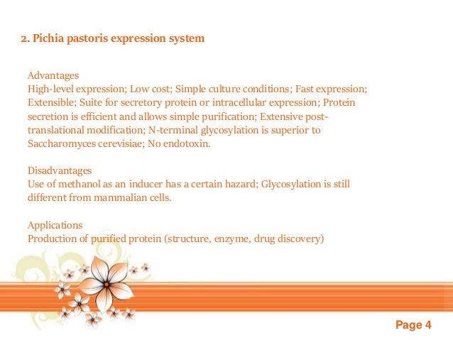Page 4 2. Pichia pastoris expression system Advantages High-level expression; Low cost; Simple culture conditions; Fast ex...