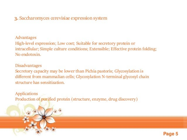 Page 5 3. Saccharomyces cerevisiae expression system Advantages High-level expression; Low cost; Suitable for secretory pr...