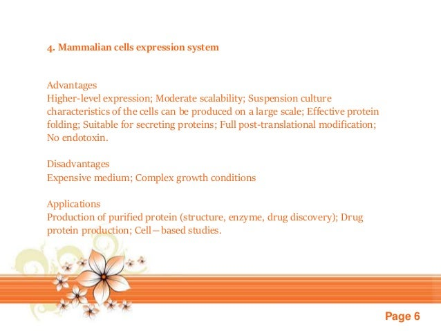 Page 6 4. Mammalian cells expression system Advantages Higher-level expression; Moderate scalability; Suspension culture c...