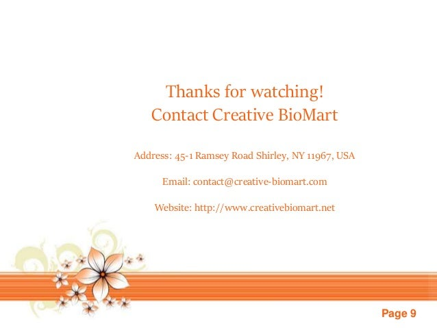 Page 9 Thanks for watching! Contact Creative BioMart Address: 45-1 Ramsey Road Shirley, NY 11967, USA Email: contact@creat...