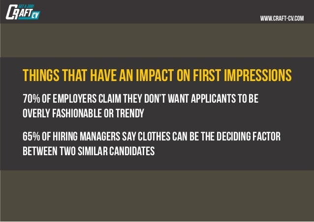 Things that have an impact on first impressions 70% of employers claim they don't want applicants to be overly fashionable...
