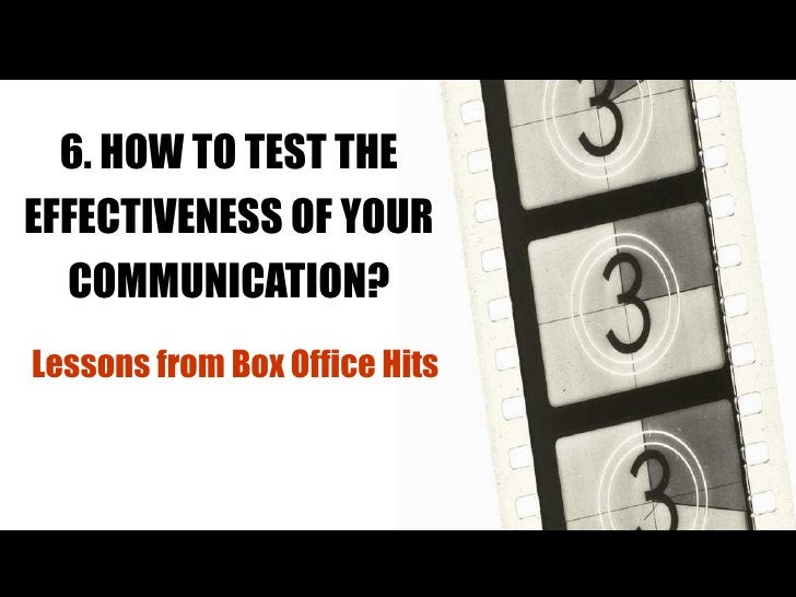 6. HOW TO TEST THE EFFECTIVENESS OF YOUR COMMUNICATION? Lessons from Box Office Hits