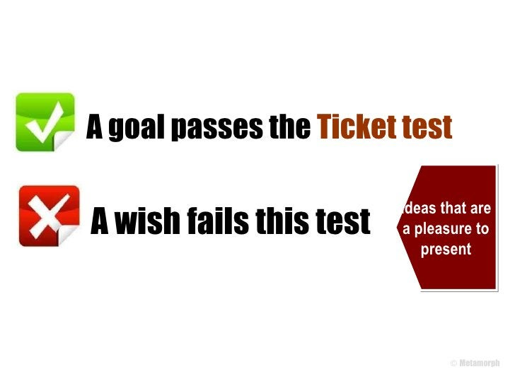 A goal passes the  Ticket test A wish fails this test Ideas that are a pleasure to present