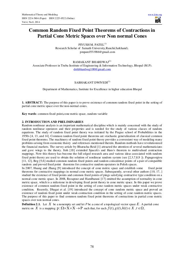 Mathematical Theory and Modeling www.iiste.org ISSN 2224-5804 (Paper) ISSN 2225-0522 (Online) Vol.4, No.8, 2014 78 Common ...
