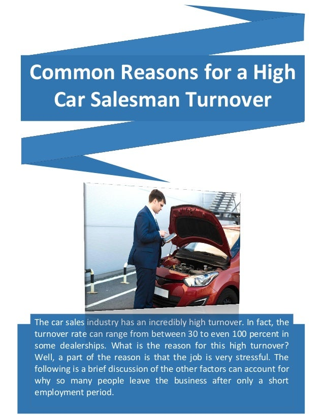 Common Reasons For A High Car Salesman Turnover