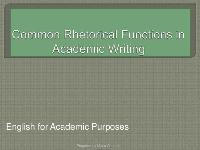 Rhetorical function in academic writing