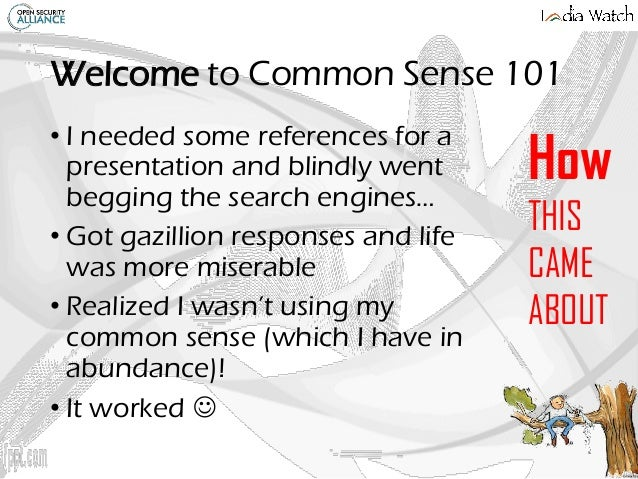 Common Sense 101 - so much to learn about CS Slide 2