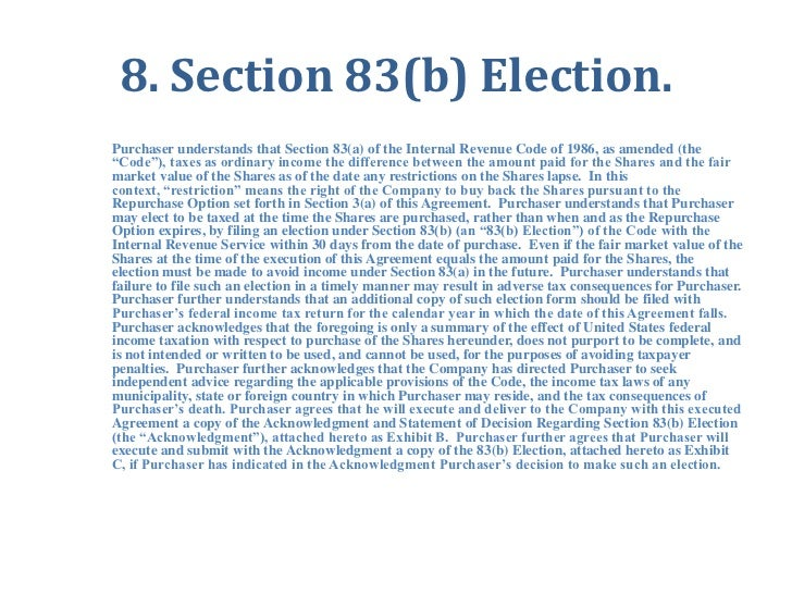 Stock options 83(b) election