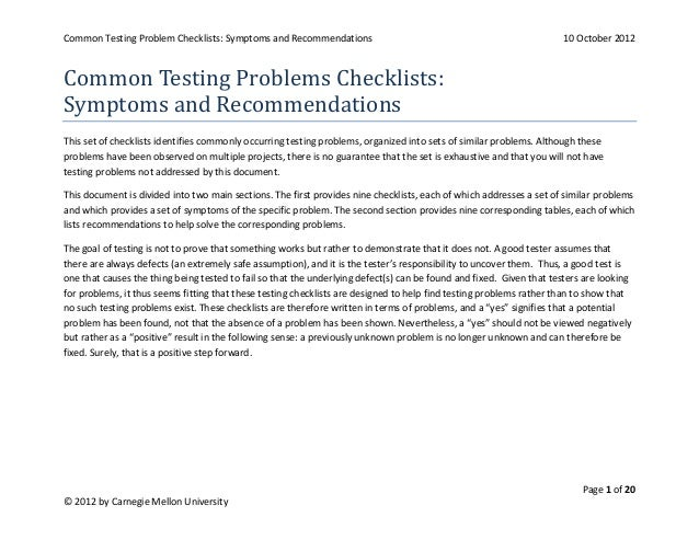 Common Testing Problem Checklists: Symptoms and Recommendations                                                      10 Oc...