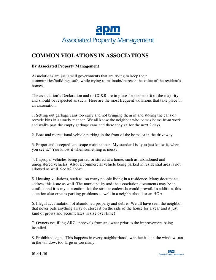 COMMON VIOLATIONS IN ASSOCIATIONS By Associated Property Management  Associations are just small governments that are tryi...