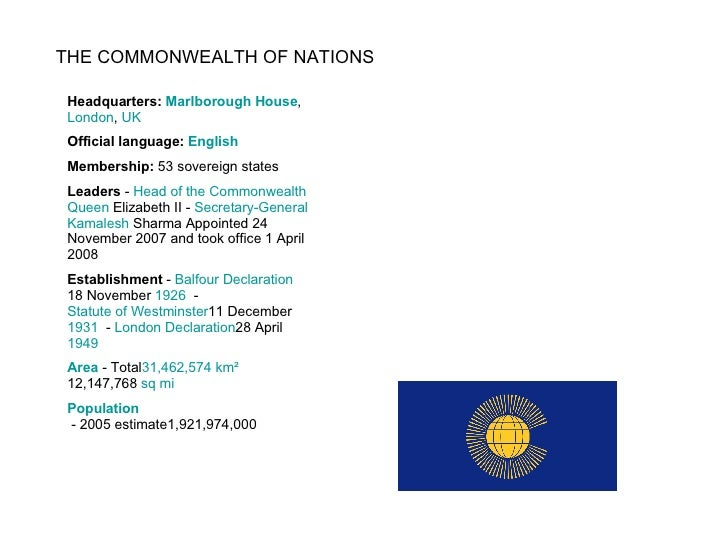 THE COMMONWEALTH OF NATIONS Headquarters:  Marlborough House ,  London ,  UK Official language:  English Membership:  53 s...