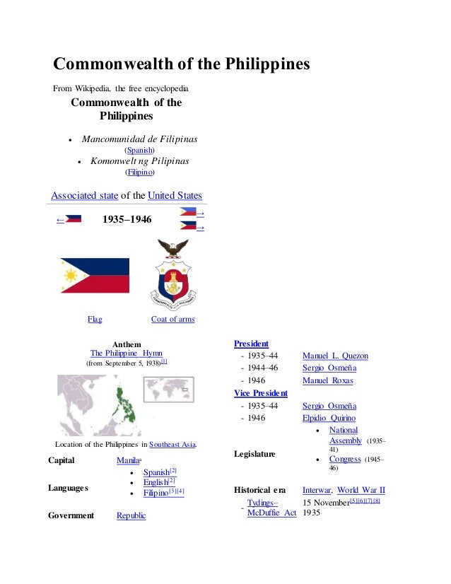 Commonwealth of the Philippines  From Wikipedia, the free encyclopedia  Commonwealth of the  Philippines   Mancomunidad d...