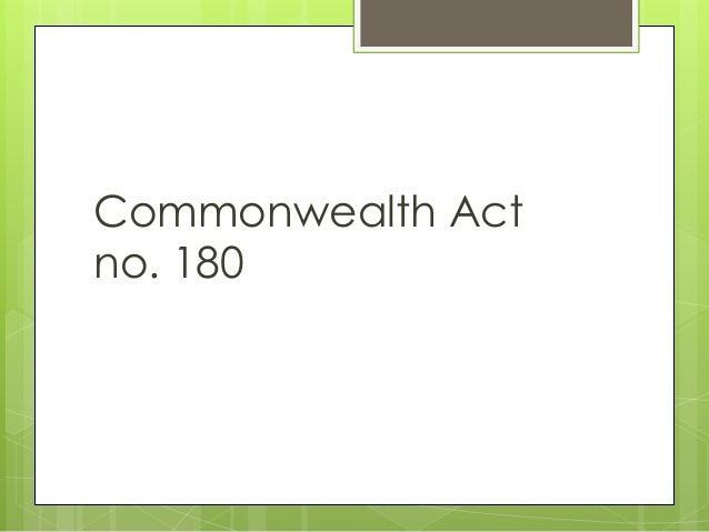 Commonwealth Act no. 180
