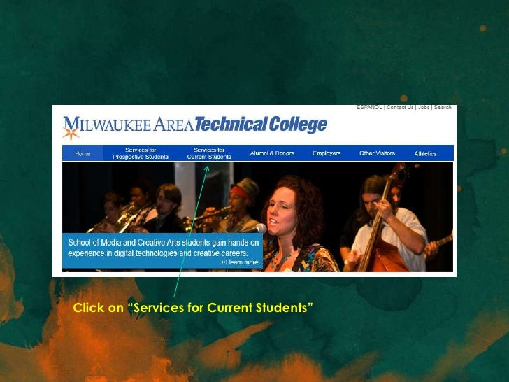 """Click on """"Services for Current Students"""""""