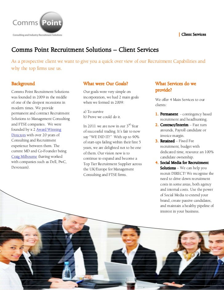 | Client ServicesComms Point Recruitment Solutions – Client ServicesAs a prospective client we want to give you a quick ...