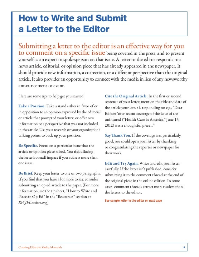 how to write a letter to the editor nursing