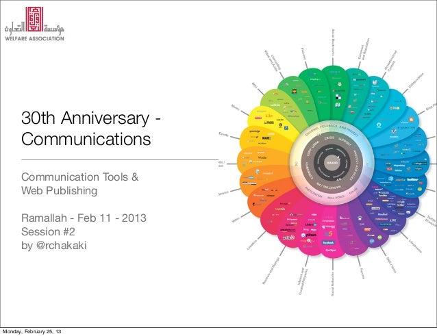 30th Anniversary -       Communications       Communication Tools &       Web Publishing       Ramallah - Feb 11 - 2013   ...