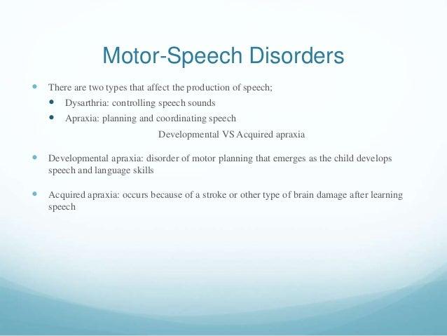 Communication disorders for Motor planning disorder symptoms
