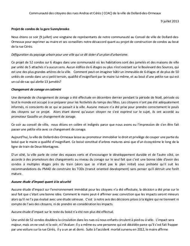 Communauté des citoyens des rues Andras et Cérès ( CCAC) de la ville de Dollard-des-Ormeaux 9 juillet 2013 Projet de condo...