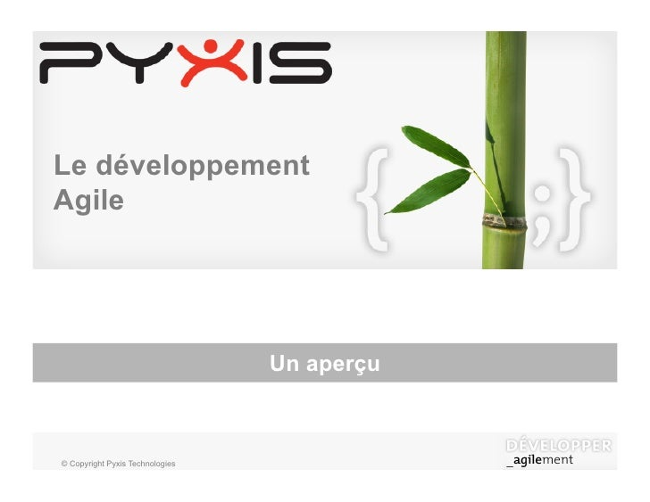 Le développement Agile                                      Un aperçu    © Copyright Pyxis Technologies