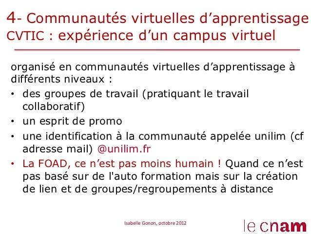 4- Communautés virtuelles d'apprentissageCVTIC : expérience d'un campus virtuelorganisé en communautés virtuelles d'appren...