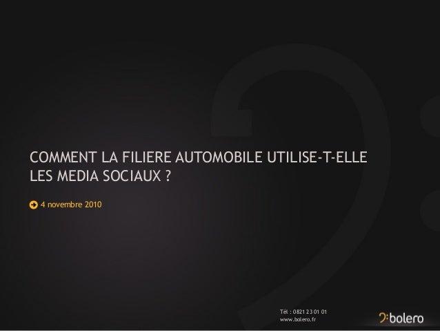 www.bolero.fr Tél : 0821 23 01 01 COMMENT LA FILIERE AUTOMOBILE UTILISE-T-ELLE LES MEDIA SOCIAUX ? 4 novembre 2010