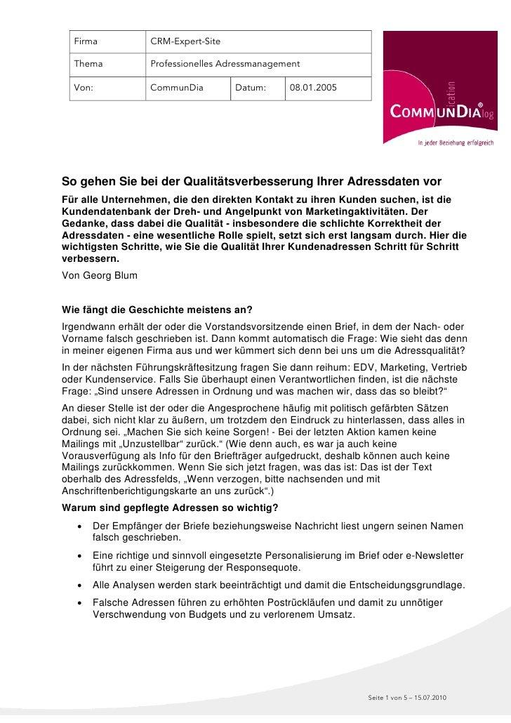 Firma            CRM-Expert-Site    Thema            Professionelles Adressmanagement    Von:             CommunDia       ...