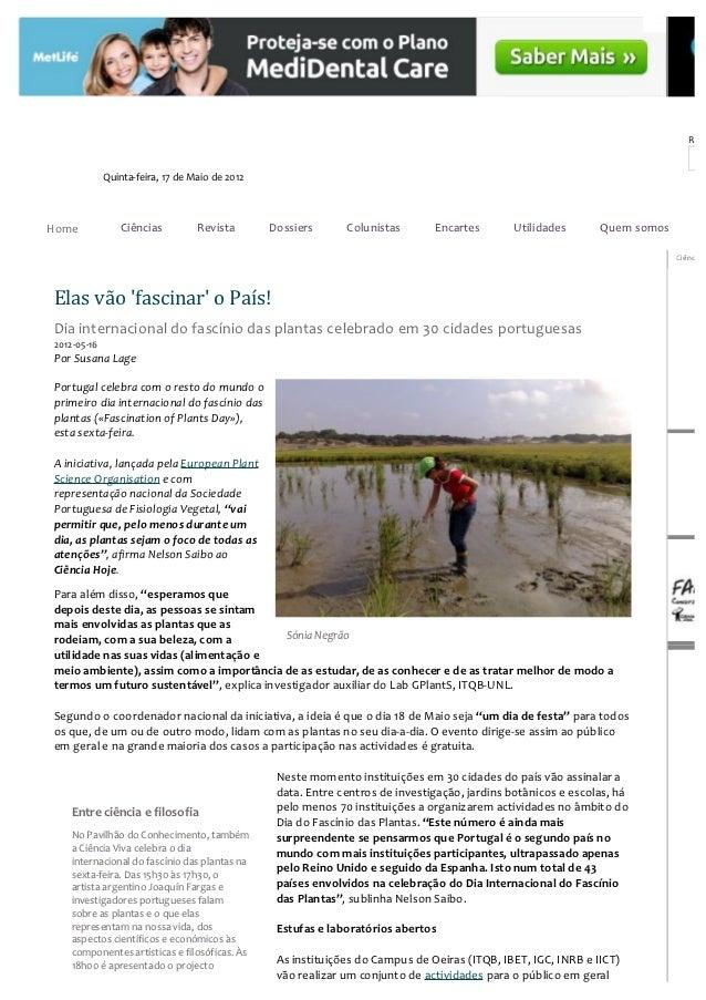 Rece             Quinta-feira, 17 de Maio de 2012Home            Ciências          Revista       Dossiers      Colunistas ...