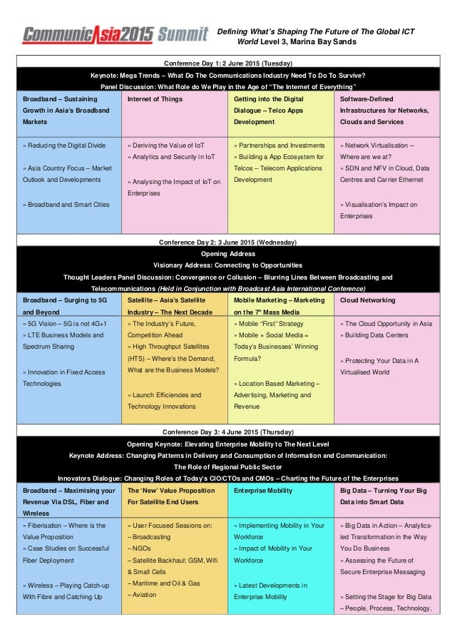 Defining What's Shaping The Future of The Global ICT World Level 3, Marina Bay Sands Conference Day 1: 2 June 2015 (Tuesda...