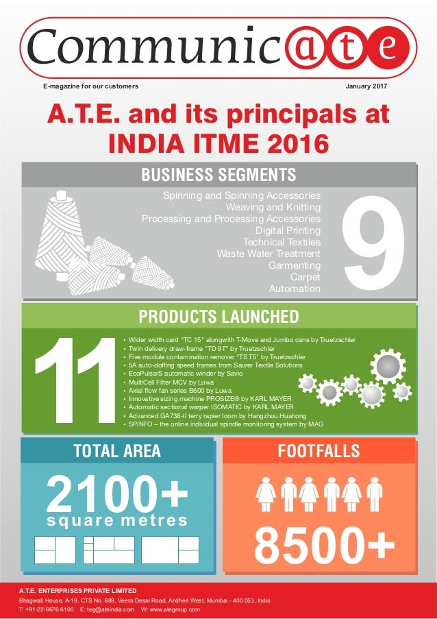 A.T.E. and its principals at INDIA ITME 2016 FOOTFALLSTOTAL AREA PRODUCTS LAUNCHED BUSINESS SEGMENTS 8500+ 2100+ 11 9 Wid...