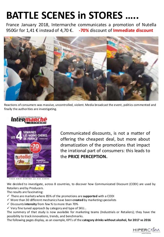 BATTLE SCENES in STORES ….. France January 2018, Intermarche communicates a promotion of Nutella 950Gr for 1,41 € instead ...