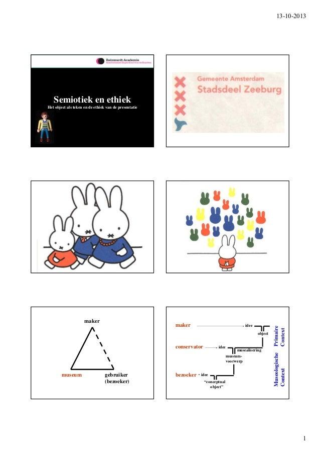 13-10-2013  Semiotiek en ethiek Het object als teken en de ethiek van de presentatie  maker  maker  idee object idee  muse...