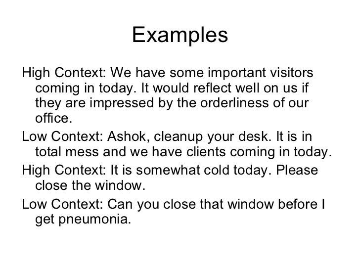 low context communication example