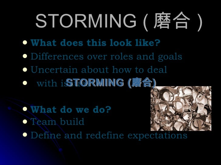 STORMING ( 磨合 ) <ul><li>What does this look like? </li></ul><ul><li>Differences over roles and goals </li></ul><ul><li>Unc...