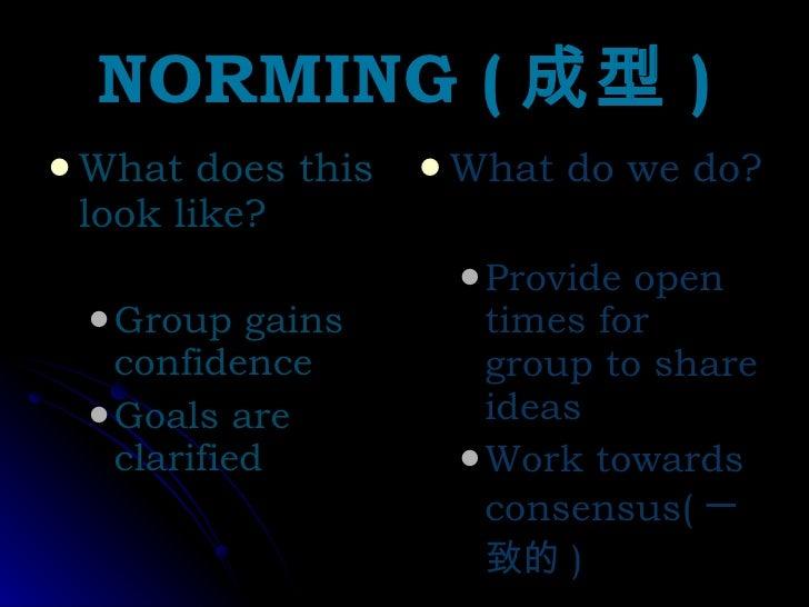 NORMING ( 成型 ) <ul><li>What does this look like? </li></ul><ul><ul><li>Group gains confidence </li></ul></ul><ul><ul><li>G...