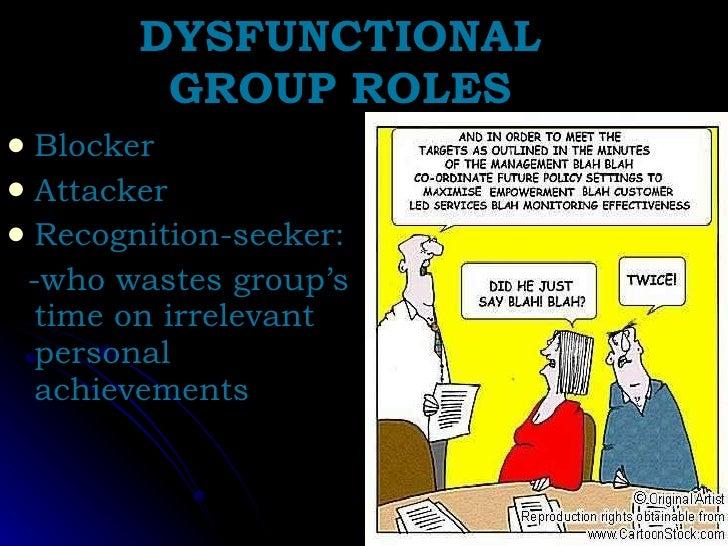 DYSFUNCTIONAL GROUP ROLES <ul><li>Blocker </li></ul><ul><li>Attacker </li></ul><ul><li>Recognition-seeker:  </li></ul><ul>...