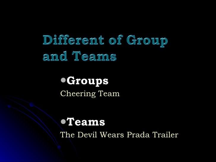 <ul><ul><li>Groups </li></ul></ul><ul><ul><li>Cheering Team </li></ul></ul><ul><ul><li>Teams </li></ul></ul><ul><ul><li>Th...