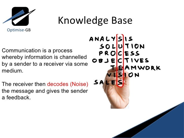 Knowledge Base Communication is a process whereby information is channelled by a sender to a receiver via some medium.  Th...