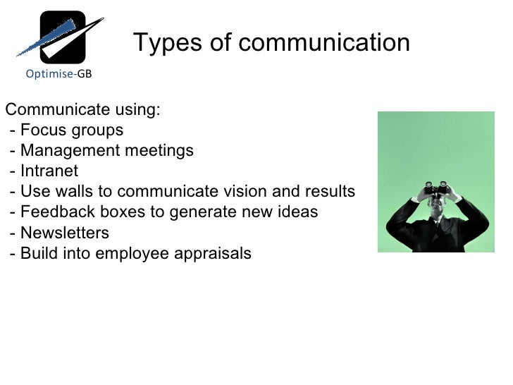 Communicate using: - Focus groups - Management meetings - Intranet - Use walls to communicate vision and results - Feedbac...