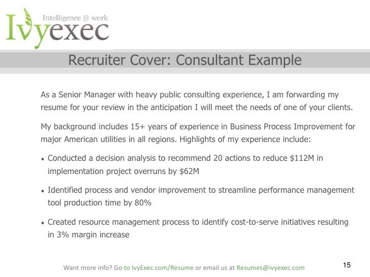 ... 15. Recruiter Cover: Consultant ...