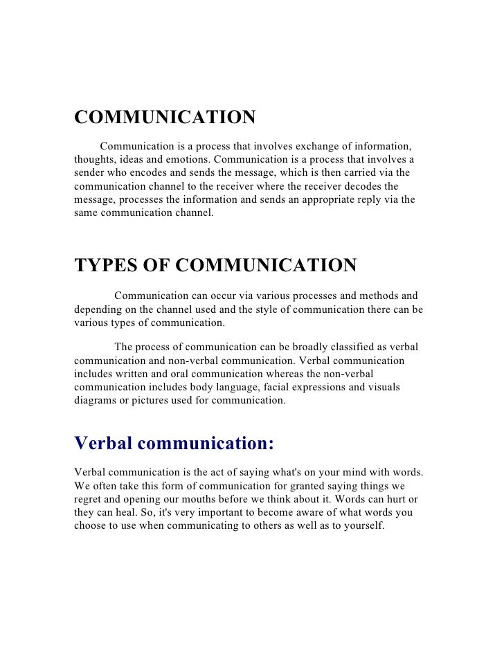 COMMUNICATION      Communication is a process that involves exchange of information, thoughts, ideas and emotions. Communi...
