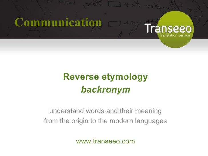 etymology communication