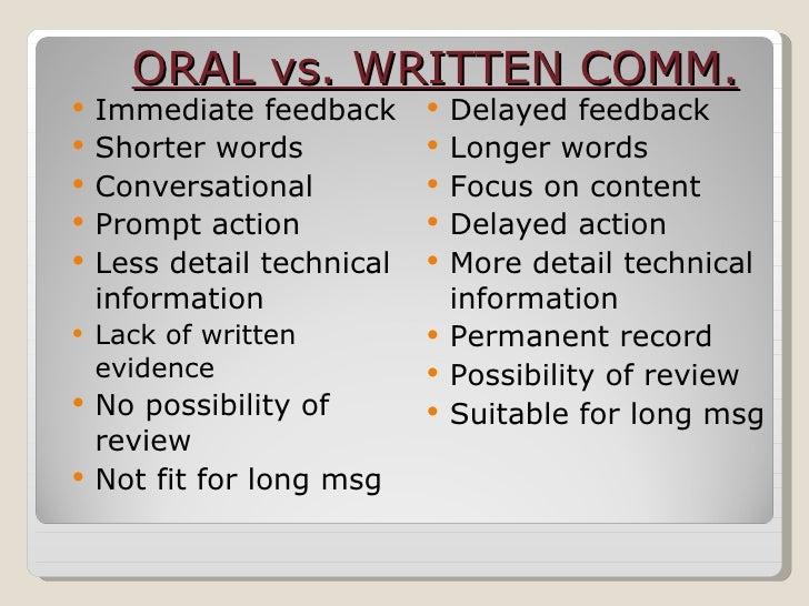 Oral Versus Written Communication 22