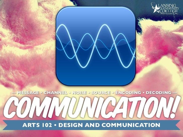 — MESSAGE • CHANNEL • NOISE • SOURCE • ENCODING • DECODING —   ARTS 102 • DESIGN AND COMMUNICATION