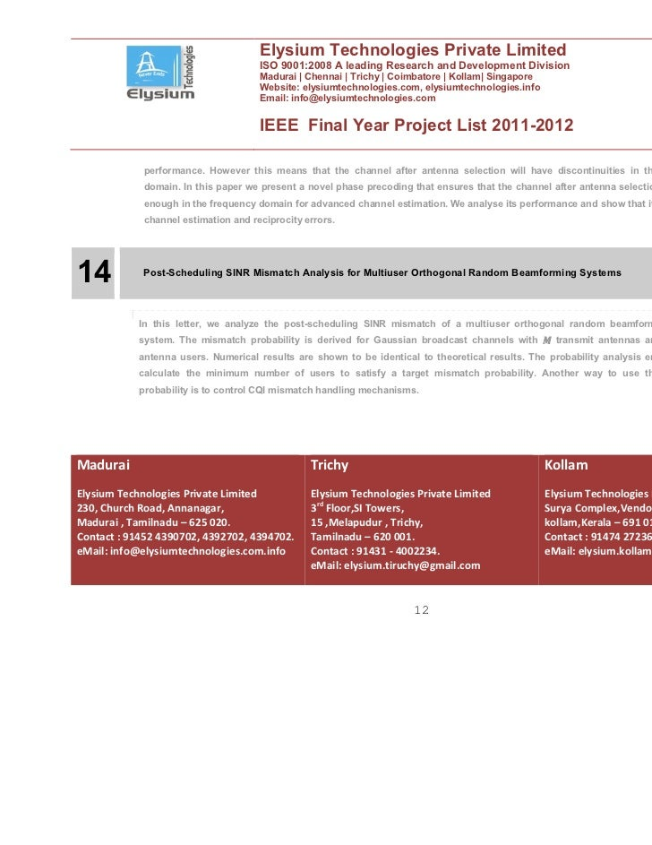 IEEE Final Year Projects 2011-2012 :: Elysium Technologies
