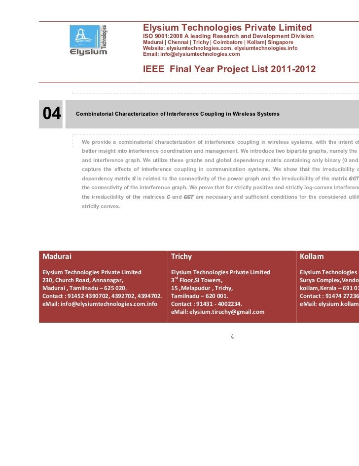 Ieee Final Year Projects 2011 2012 Elysium Technologies