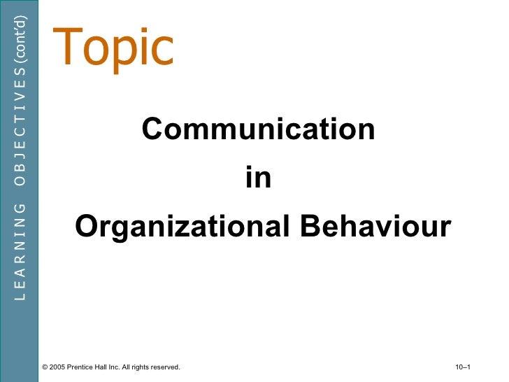 TopicO B J E C T I V E S (cont'd)                                                               Communication             ...